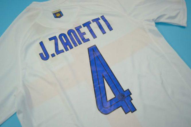 Zanetti Nameset Alternate, Inter Milan 2007-2008 Away Centenary Short-Sleeve