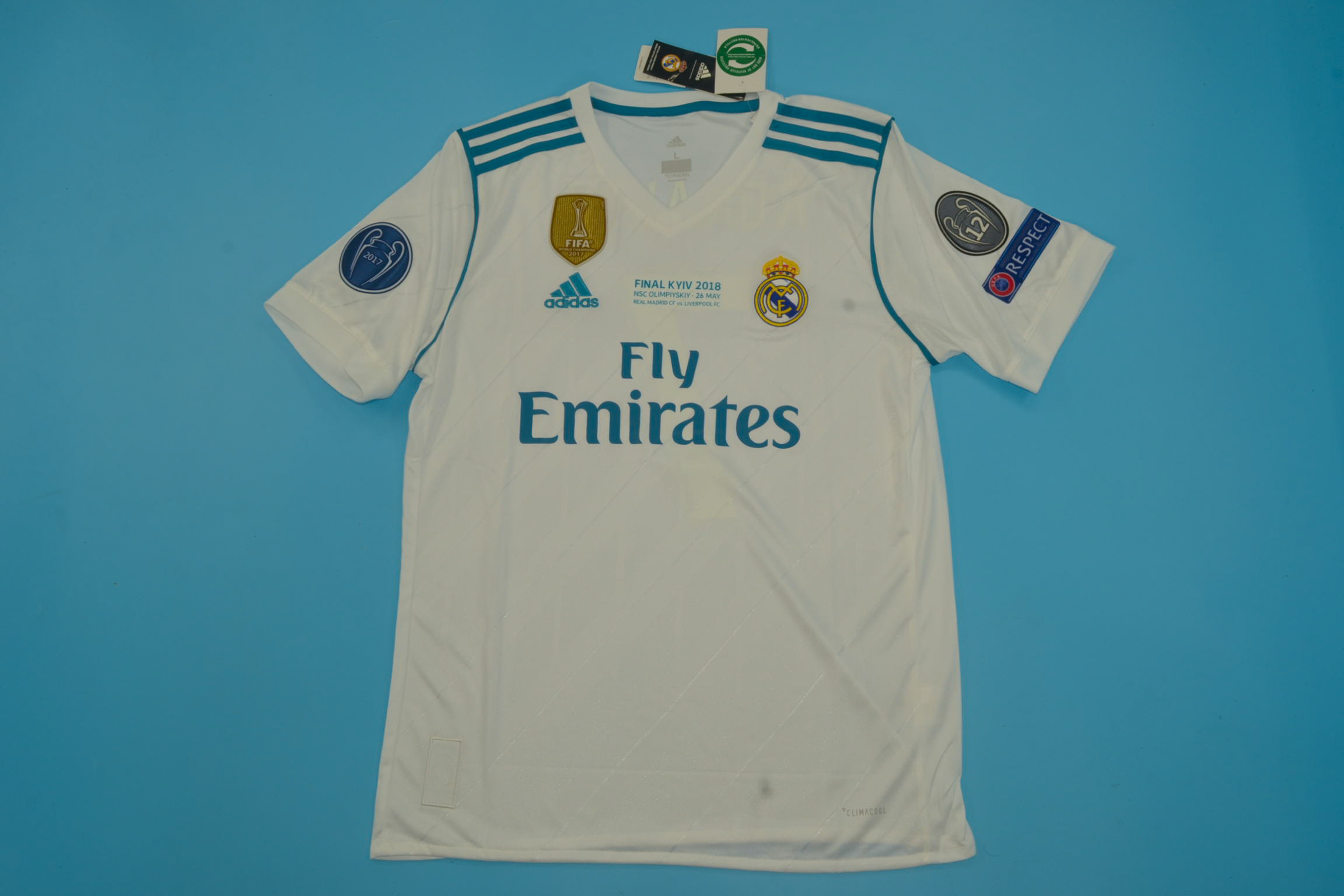 new styles 16c87 f5b11 Real Madrid 2017-2018 Champions League Final Short Sleeve