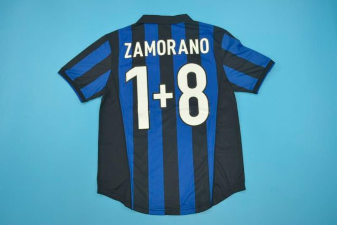 Zamorano 8+1 Nameset, Inter Milan 1998-1999 Home Short-Sleeve