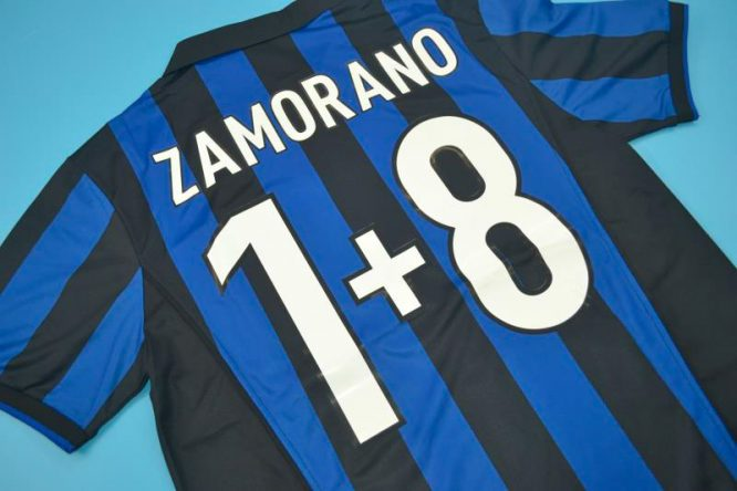 Zamorano 8+1 Nameset Alternate, Inter Milan 1998-1999 Home Short-Sleeve