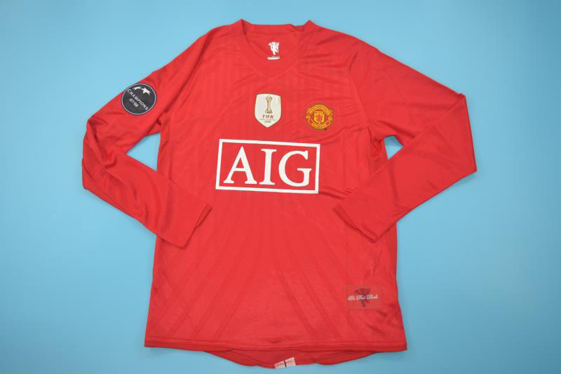 manchester utd 2007 2009 home long sl shirt free shipping manchester united 2007 2009 home long sleeve football shirt as worn by ferdinand rooney ronaldo