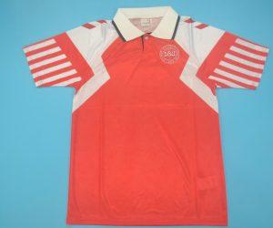 Shirt Front, Denmark Euro 1992 Red Home Short-Sleeve
