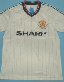 Shirt Front, Manchester United 1983 Away White Charity Shield Final Short-Sleeve