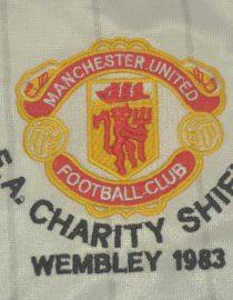 Shirt Man Utd Emblem, Manchester United 1983 Away White Charity Shield Final Short-Sleeve