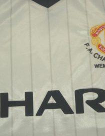 Shirt Sharp Emblem, Manchester United 1983 Away White Charity Shield Final Short-Sleeve
