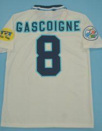 Gascoigne Nameset Back, England 1996 Home Short-Sleeve