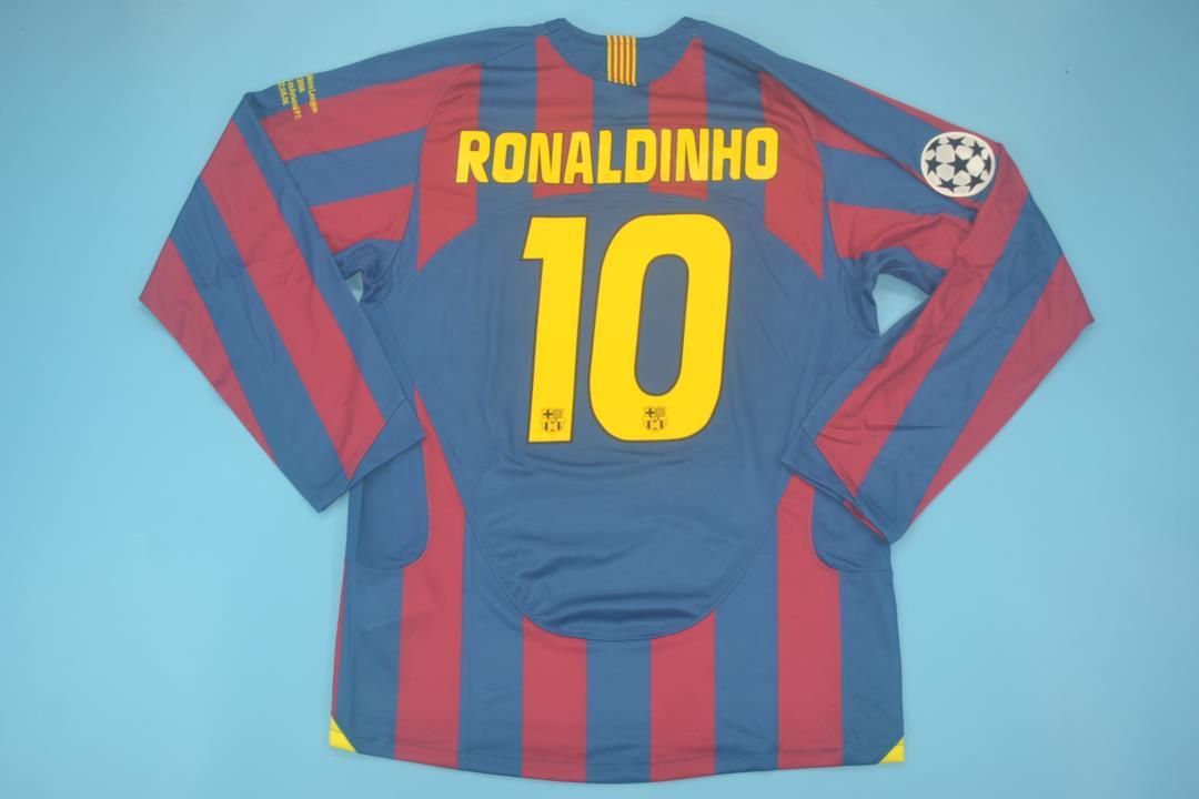 za Ronaldinho Retro Long Sleeve Soccer Jersey 2005-2006 Champion League Patch