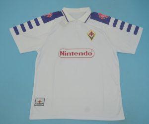 Shirt Front, Fiorentina 1998-1999 Away White Short-Sleeve