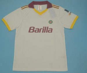 Shirt Front, AS Roma 1991-1992 Away White Short-Sleeve Kit