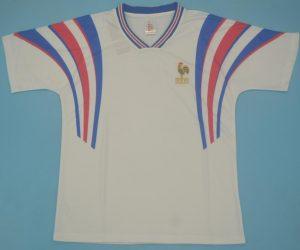 Shirt Front, France 1996 Away White Short-Sleeve Kit