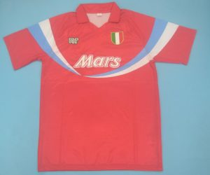 Shirt Front, Napoli 1990-1991 Third Red Short-Sleeve Kit